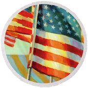 Round Beach Towel featuring the painting Stars, Stripes, And Cowboys Forever by Lesley Spanos
