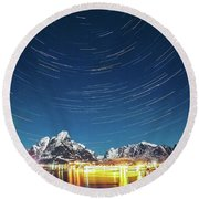 Startrails Above Reine Round Beach Towel by Alex Conu