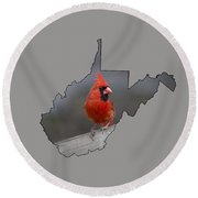 State Bird Of West Virginia Round Beach Towel