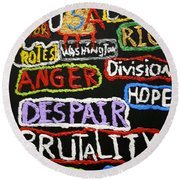 State Of America Round Beach Towel by Darrell Black