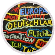 State Of Europe Round Beach Towel by Darrell Black