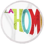 State Of Oklahoma Typography Round Beach Towel