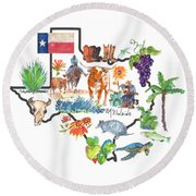 State Of Texas As I Know It Round Beach Towel