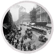 State Street - Chicago Illinois - C 1893 Round Beach Towel by International  Images