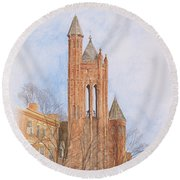 Round Beach Towel featuring the painting State Street Church by Dominic White