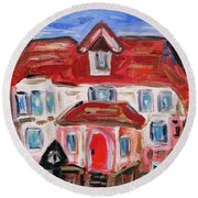 Round Beach Towel featuring the painting Stately City House by Mary Carol Williams