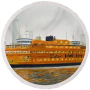 Staten Island Ferry Round Beach Towel