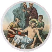 Station Xi Jesus Is Nailed To The Cross Round Beach Towel