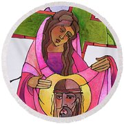 Stations Of The Cross - 06 St. Veronica Wipes The Face Of Jesus - Mmvew Round Beach Towel