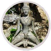 Statue Depicting A Thai Yoga Pose Round Beach Towel