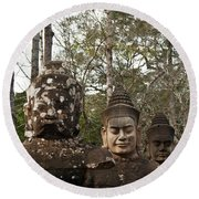 Statue Heads Ankor Thom Round Beach Towel