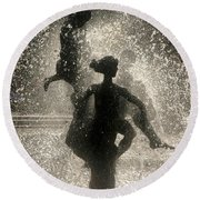 Round Beach Towel featuring the photograph Statue In Rostock, Germany by Jeff Burgess