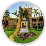Statue Of, King Kamehameha The Great Round Beach Towel