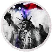 Statue Of Liberty 005 Round Beach Towel