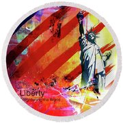 Statue Of Liberty 01a Round Beach Towel