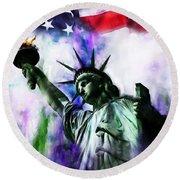 Statue Of Liberty 08 Round Beach Towel