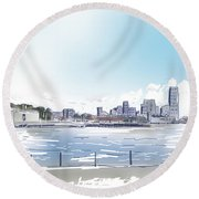 Statue Of Liberty And New York City Illustration  Round Beach Towel