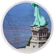Statue Of Liberty Seated Grainy Photo Round Beach Towel