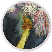 Statute Of Liberty Round Beach Towel by Lucia Grilletto