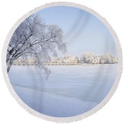 Stay A While Round Beach Towel