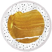 Stay Gold  Round Beach Towel by Uma Gokhale