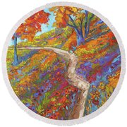 Stay On The Path - Modern Impressionist, Landscape Painting, Oil Palette Knife Round Beach Towel