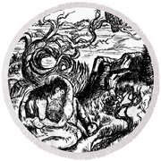 Round Beach Towel featuring the drawing Stay With Me by Dawn Senior-Trask