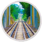 Round Beach Towel featuring the photograph Staying On Track by Lisa Kaiser