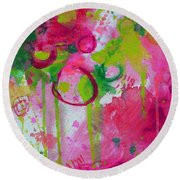 Round Beach Towel featuring the painting Steal My Breath by Tracy Bonin