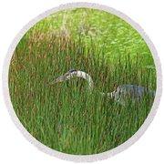 Stealth Heron Round Beach Towel