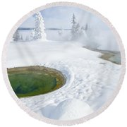 Steam And Snow Round Beach Towel