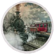 Round Beach Towel featuring the photograph Steam Engine by Hanny Heim