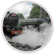 Steam Locomotive Drama Round Beach Towel