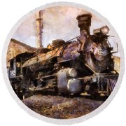 Steam Locomotive Round Beach Towel by Ian Mitchell