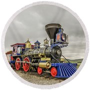 Steam Locomotive Jupiter Round Beach Towel