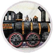 Steam Locomotive Round Beach Towel by R Kyllo