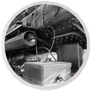 Steam Locomotive Side View Round Beach Towel