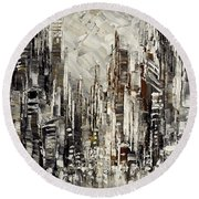 Round Beach Towel featuring the painting Steam Over Gotham by Tatiana Iliina