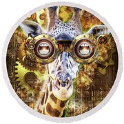 Steam Punk Giraffe Round Beach Towel