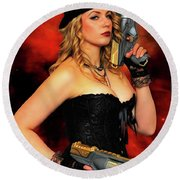 Steam Punk Gun Figther Round Beach Towel
