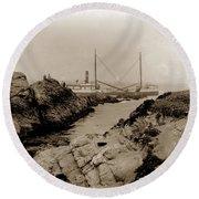 Steam Schooner S S J. B. Stetson, Ran Aground At Cypress Point, Sep. 1934 Round Beach Towel