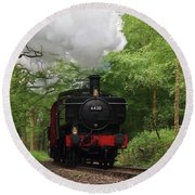 Steam Train Approaching In The Forest Round Beach Towel by Gill Billington