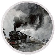 Steam Train At Garsdale - Cumbria Round Beach Towel by John Cooke