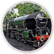 Steam Train On North York Moors Railway Round Beach Towel