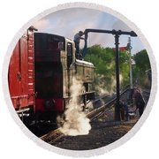 Steam Train Taking On Water Round Beach Towel by Gill Billington