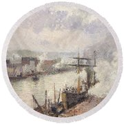 Steamboats In The Port Of Rouen, 1896  Round Beach Towel