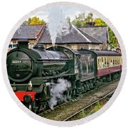 Steaming Out Of Grosmont Station Round Beach Towel