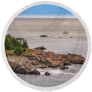 Round Beach Towel featuring the photograph Steaming Through Quoddy Narrows by Rick Berk