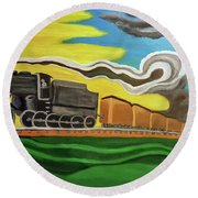 Steaming West Bound Round Beach Towel