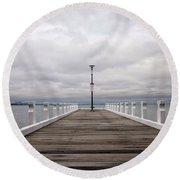 Round Beach Towel featuring the photograph Steampacket Quay by Linda Lees